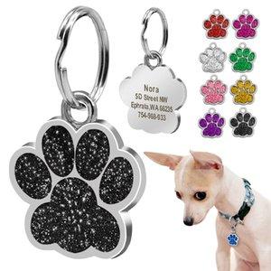 Cão ID Tag personalizado para cães pequenos personalizado Rhinestone Acessórios Pet Paw cópia do pé Tag Decoração placa Collar Nome