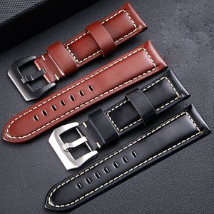 FUYIJIA 2019 Nouvelle boucle ardillon de ceinture montre en cuir brillant watchbands couche tête vachette montre la bande de 20 mm ~ accessoires montre bracelet 26mm T200510