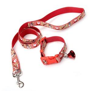 2.5 * 120cm del arnés Correas conjunto de collar con la campana de Christams Impreso ajustable para mascotas perrito del gato Animales Correa collar de lazo de cuello LJJA3352-2