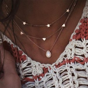 Boho Multi Layer Chain Crystal Necklaces For Women Fashion Vintage Gold Necklace Multiple Layers Waterdrop Pendant Necklace Jewelry Gift
