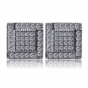Mens Hip Hop Stud Earrings Jewelry New Fashion Gold Color Zircon Diamond Square Earrings For Men Gift