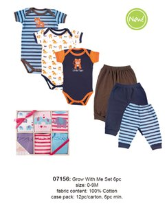 6PCS Baby Clothes Sets 100% Cotton Newborn 0-9 Months Baby's Sets Gift Box Layette For Girl Kids