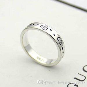 두개골 G 디자이너가 새겨진 고급 보석 커플 반지는 여성과 남성의 티타늄 스틸 골동품 실버 조각 약혼 반지 반지