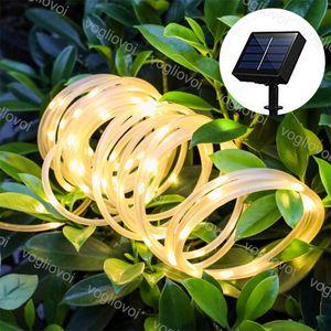 잔디 램프 태양 정원 조명 LED 문자열 50 100 200m 여러 가지 빛깔의 투명 튜브 8 모드 야외 크리스마스 휴일 장식 DHL