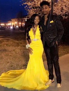 African Black Girls Satin Mermaid Beaded Graduation Party Dress Deep V Neck Sexy Long Yellow Prom Gowns