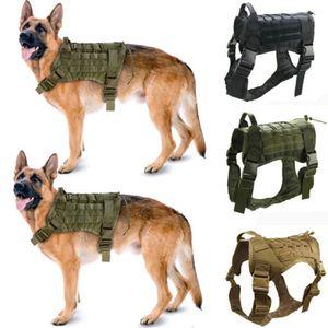 Polícia K9 Tactical Dog Training Harness Militar ajustável Molle Nylon Vest