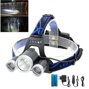 NUEVO 3 llevó la linterna del faro 2 T6 R2 frontal cabeza hoofdlamp de alta potencia de la noche luz de la antorcha de la lámpara para la pesca 18650