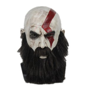 God of War 4 Kratos Cosplay Mask with Wig Beard Halloween Latex full face Party Props Horror Masks Helmet