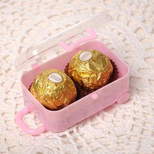 Wedding Party Mini Suitcase Candy Caixa Acrílico claro Embalagem de doces do chocolate de presente festiva Box Tabela Decoração LXL558-1