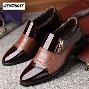 WEINUOTE italiana hombre de la moda formales punta estrecha zapatos de boda vestido de los zapatos de cuero de los hombres de oficina Pisos para Hombre