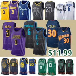 NCAA Uomo Bambini Anthony Davis 3 Jersey 30 Jayson 0 Stephen Tatum Curry Kristaps 6 Porzingis Basketball Maglie
