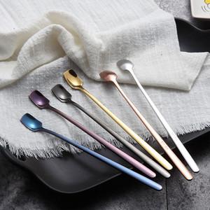 304 Нержавеющая сталь длинная ручка кофе перемешивание льда ложка творческая красочная ледяная ложка корейский стиль послушной квадратной головы ложки T3301