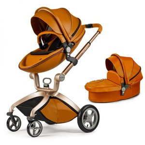 Hot Mom New Arrival Leather Baby Stroller Baby Car Four Wheels Egg Shape Baby Pram Trolley Brown