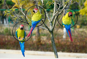 Garden Decoration, Outdoor Garden Hanging Tree Animal Decoration, Simulation Parrot Bird Ornament Resin Crafts 2020