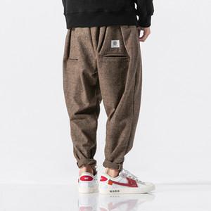 3 Color Men Winter Thick Warm Woolen Casual Plaid Harem Pant Male Loose Fashion Trousers Streetwear Hip Hop Pant Plus Size M-5XL Y19060601