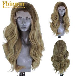 Radici Ebingoo scure Ombre sintetica bionda parrucca anteriore del merletto fibra a temperatura elevata onde corte Corpo Bob parrucche per le donne