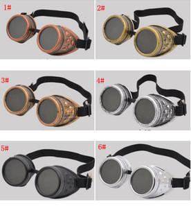 6styles Steam Punk Gözlükler Gotik Retro Gözlük Adam Ve Kadın Açık Yürüyüş Faydalı Taşınabilir açık bisiklet su geçirmez gözlük FFA3165