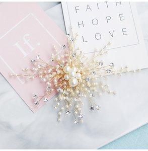 2019 pinzas de pelo de moda de la boda hecho a mano de perlas de cristal de la joyería del pelo de oro nupcial del pelo adorna los accesorios Cascos JCF065