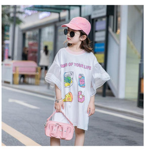 4 5 6 7 8 9 Years Girl Dress Casual Printed Bell Sleeve Princess Dress For Girl Loose Kids Clothing Summer Children Dresses New