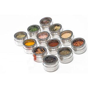 Magnetic Spice Jar aço inoxidável Spice latas Spice Storage Container Pimenta Tempero Pulverizadores Tools Outdoor portátil churrasco Tempero Jar