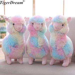 30 cm One Piece Rainbow Sheep Plush Toy Macio Algodão PP Recheado Sheeps Bonecas Crianças Bonitos Dormir Almofadas Amigos Presente de Aniversário