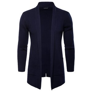 Spring Autumn Mens Open Stitch Solid Stand Collar Long Sleeve Outerwear Casual Coats Fashion Knit With Pocket Men Jackets