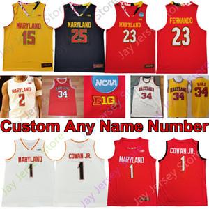 2020 Maryland Terrapins Stats Baseball Jersey NCAA College Anthony Cowan Jr. Jalen Smith Eric Ayala 34 Len Bias Chol Marial Aaron Wiggins