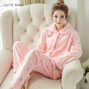 JULY'S SONG Winter Schlafanzug Set Damen Nachtwäsche Warm Flanell Langarm Schlafanzug Pink Cute Animal Homewear Thick Home Suit SH190905