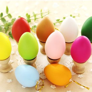 4*6cm Hanging Easter Egg Mixed Color Plastic ball With Rope Easter Decoration For Home Children DIY Painting Egg With Rope