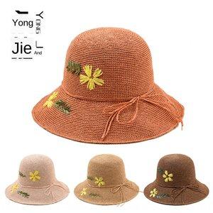YJC-A288 flor flores e grama palha chapéu senhoras tecidos à mão praia protetor solar maré chapéu de palha sol bowknot