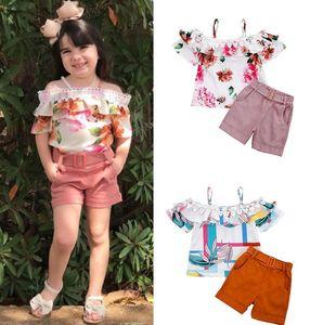 Baby Floral Clothing Sets Lace Ruffled Chiifon Sling Top + Short Pants 2pcs set Fashion Kdis Girls Outfits
