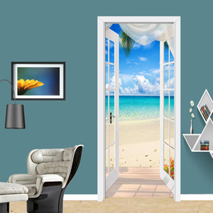 Photo Wallpaper 3D Seaside Landscape Door Sticker Living Room Hotel Restaurant Background Wall Sticker PVC Waterproof Wall Paper