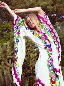 Женские Дизайнерские Платья Мода Цветочный Принт Высота Сплит Бабочка Рукав Богемное Платье Повседневное Вечернее Платье