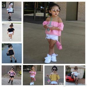 Baby-Kleidung-Mädchen-In Sommer-Outfits Baumwolle Kurzarm Strapless Shorts Suits Blumenspitze Boob Tube Tops Hosen Jeans Kleidung BYP3854