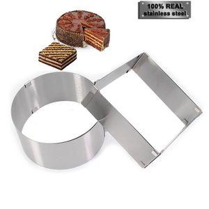 2 Pcs / set En Acier Inoxydable Chocolat Moule Réglable Confectionery Moules Accessoires De Cuisson Décoration De Gâteau De Pâtisserie Outils Q190430