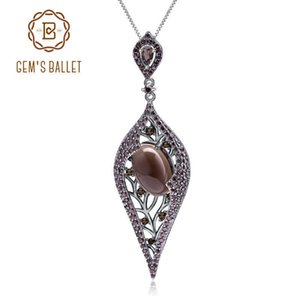 Gem's Ballet 925 Sterling Sliver Natural Smoky Quart Gemstone Vintage Gothic Punk Pendant Necklace For Women Party Jewelry Y19051602
