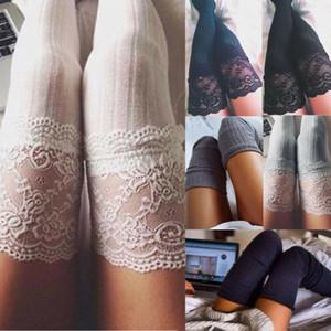 US-Frauen-Winter Zopfmuster Overknee Langer Stiefel warm Oberschenkel hohe Socken Beinlinge