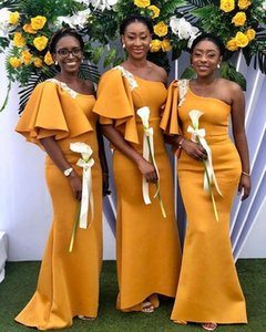 Gold Mermaid Bridesmaid Dresses One Shoulder Ruffles Appliques Garden Country African Wedding Guest Evening Party Gowns Maid of Honor Dress