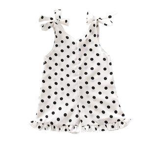 SAGACE Moda Kız Çocuk Nokta Baskı Düğme Romper Tulumlar Kıyafetler Bebek Kız Bebek Yaz Çocuk Giyim Setleri