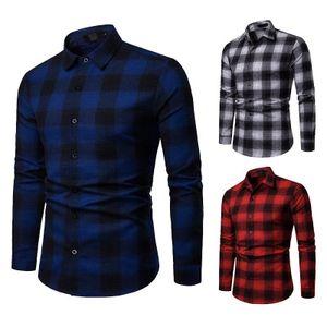 Mens Casual Plaid camisas novas Moda Steetwear Shirts Turn Down Collar manga comprida Blusas Masculinas Dropshipping