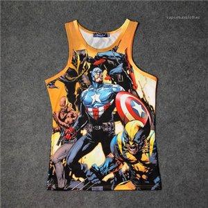 Quick Dry 3D Print Vest Style girocollo maniche magliette causel Abbigliamento Avengers Men Estate