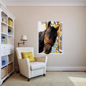 Free shipping 3D Horse Out of Window Wall Decal Art Photo waterproof Removable Wallpaper Forest Mural Sticker Vinyl Home Decor T200601