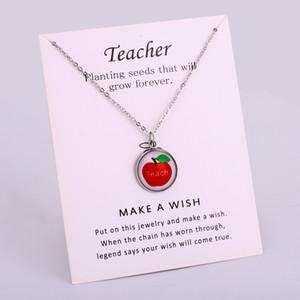 معلم الحياة أبل تعليم الحب إلهام فضة المعلقات سلسلة القلائد النساء الرجال للجنسين العصرية مجوهرات هدية العديد من الأساليب للاختيار