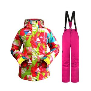 Großhandels-Tarnung Qualitäts warmes Kleid Frauen Ski Bekleidung Wasserdichte Snowboarding Anzug Sets Jackets + Pants Schnee Kostüme