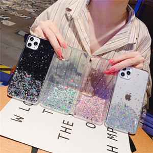 Glitter Bling Sequins Case For iphone 11 11Pro Max 8 7 Plus 6S X XS Max XR Samsung Shining Star Transparency Phone Case Soft Cover