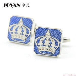 2020 tasarımcı mavi elmas kakma yağ damlayan taç Kol Düğmeleri Kral Crown Royal sembolü Kol Düğmeleri