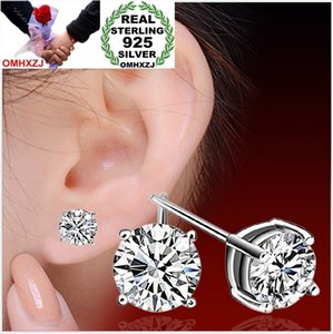 OMHXZJ WHOLESALE Fashion jewelry lovely woman Four claws drill REAL S925 STERLING SILVER STUD EARRINGS MAN YS98