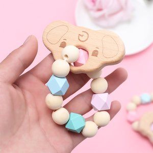 1PC Wood Teething toys Baby Bracelet Animal Shaped Jewelry Teething For Baby Organic Wood Silicone Beads Accessories Toys