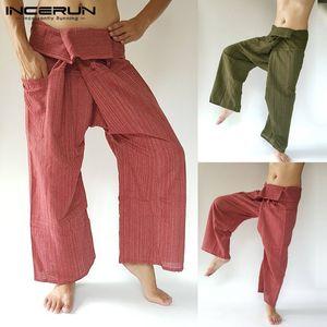 INCERUN 2020 Men Thai Fisherman Pants Striped Cotton Joggers Loose Casual Yoga-pants Workout Pockets Wide Leg Trousers Men S-5XL T200706