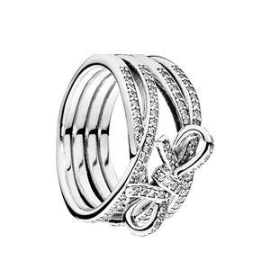 Authentische 925 Sterling Silber CZ Diamant Ring Set Logo Original Box Für Pandora Zarte Gefühle Bowknot Ring Für Frauen Mädchen